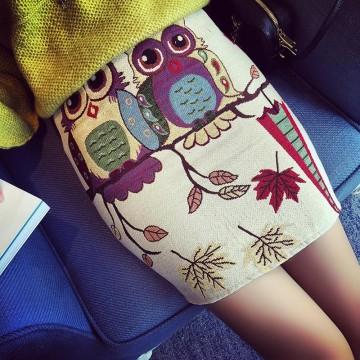 TE8236BLFS Harajuku style owl print tight hip skirt