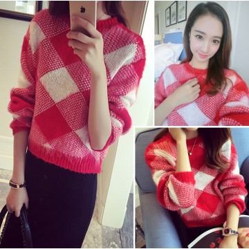 TE8237BLFS Korean fashion diamond check color matching pullover sweater