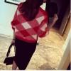 TE8237BLFS Korean fashion diamond check color matching pullover sweater