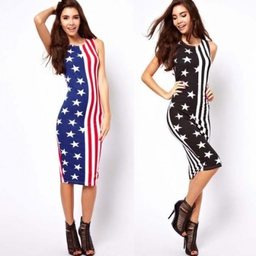 TE8589YY The Stars and Stripes print sleeveless slim dress
