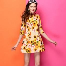 TE9032LLYG Europe fashion print half sleeve dress