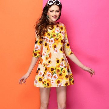 TE9032LLYG Europe fashion print half sleeve dress