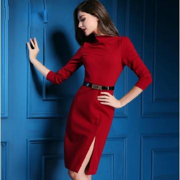 TE9081LLYG High quality half-collar side slashed up long sleeve dress