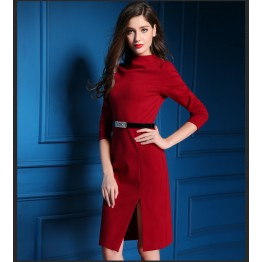 TE9081LLYG High quality half-collar side slashed up long sleeve dress