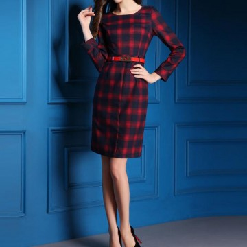 TE9082LLYG Autumn new style fashion checks slim dress
