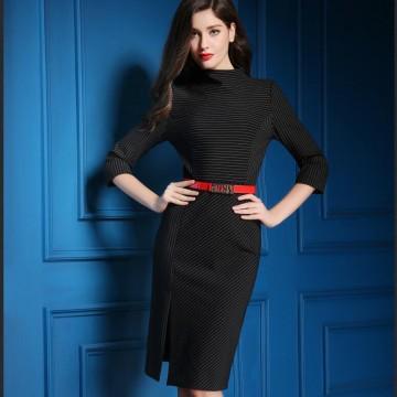 TE9083LLYG Europe fashion stand collar temperament stripes dress