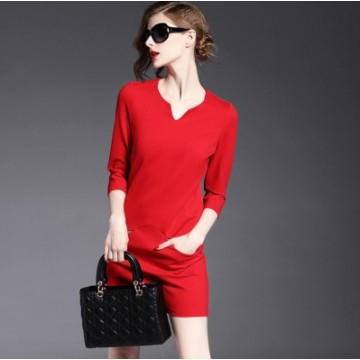 TE9084LLYG Europe fashion v-neck pure color pocket slim dress