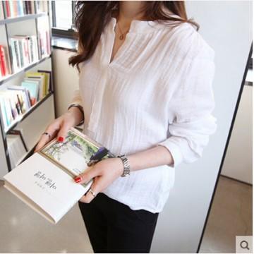 TE1102YMNZ Loose V-neck cotton ramie long sleeve blouse
