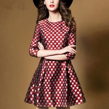 TE923XNH Europe fashion heart print jacquard weave A-line dress