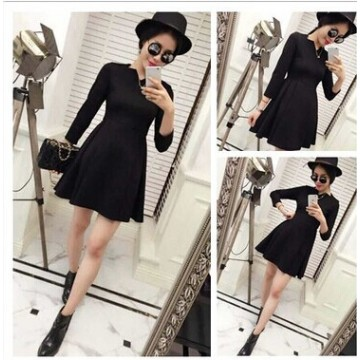 TE9384YBF Wave neckline slim long sleeve dress