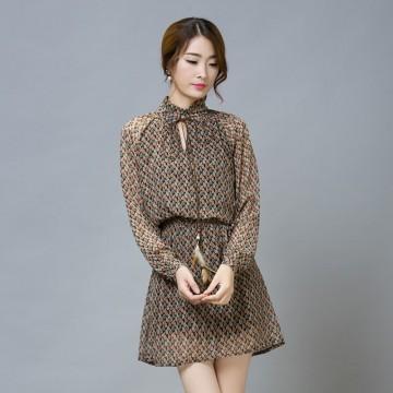 TE9543JDYJ Korean style leaves print slim waist chiffon dress