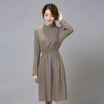 TE9546JDYJ Korean style print slim waist long sleeve chiffon dress