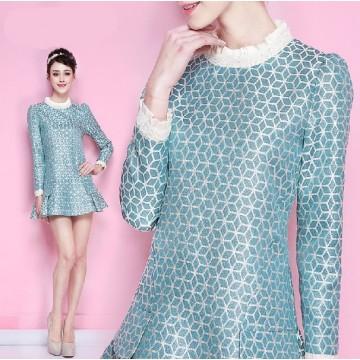 TE9601LLYG Europe fashion temperament lace splicing long sleeve dress