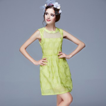 TE9627LLYG Fashion temperament round neck A-line sleeveless dress
