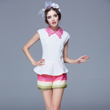 TE9628LLYG Doll collar flouncing short sleeve tops with stripes shorts