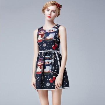 TE9631LLYG Europe fashion round neck owl print jacquard weave sleeveless dress