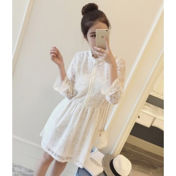 TE9844LLFS Korean fashion temperament slim waist lace dress