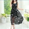 TE9848MSJ Stars print bohemia sleeveless chiffon maxi dress