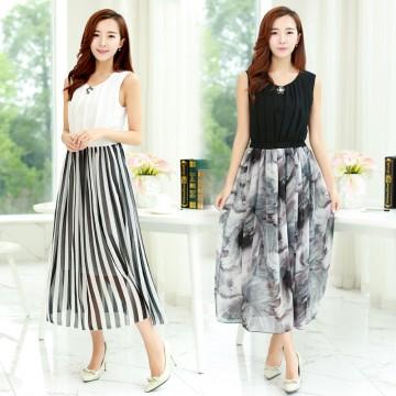 TE9852MSJ Korean fashion color matching slim waist long dress