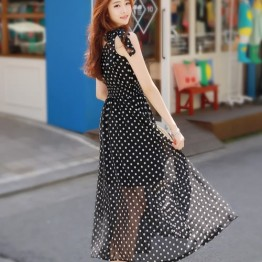 TE9853MSJ Bowknot shoulder sleeveless dot chiffon maxi dress