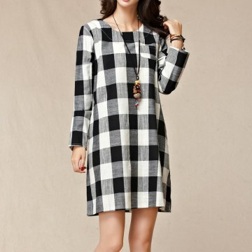 TE9854MSJ Large size loose checks long sleeve dress
