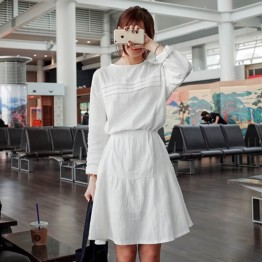 TE9855MSJ Autumn fashion round neck long sleeve shirt dress