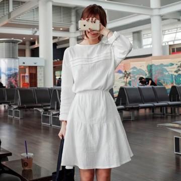 TE9855MSJ Autumn fashion round neck long sleeve shirt dress