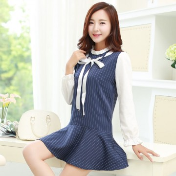 TE9857MSJ Preppy style stripes splicing autumn dress