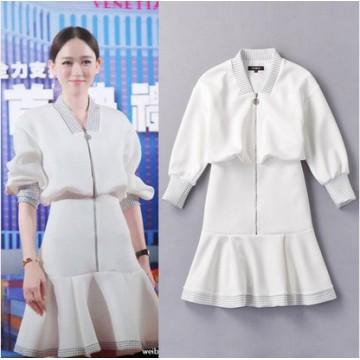 TE027FFWL Fashion v-neck slim waist flouncing dress