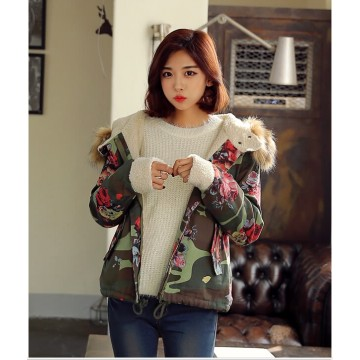 TE0853DNFS Korean fashion camouflage flowers lamb lining thicken coat with cap