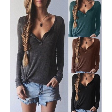 TE0856DNFS Hot sale rib cotton v-neck long sleeve t-shirt