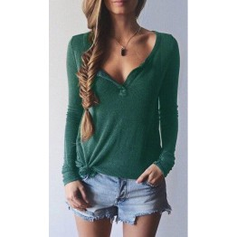 TE0856DNFS Hot sale rib cotton v-neck long sleeve t-shirt