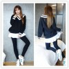 TE1114GJ Stripes splicing collar skirt hen long t-shirt