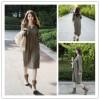 TE1115GJ Korean fashion v-neck loose casual ramie cotton long dress