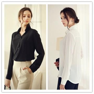 TE1418GJ Europe style joker spandex chiffon long sleeve blouse