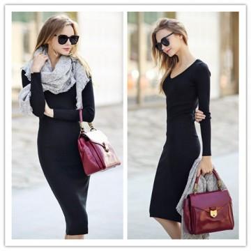 TE1378GJ Europe fashion slim joker long sleeve dress