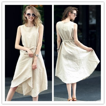 TE1223GJWL Fashion back buttons belt sleeveless dress