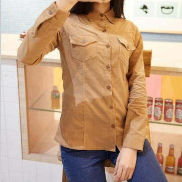 TE1283DYH Korean fashion corduroy long sleeve shirt