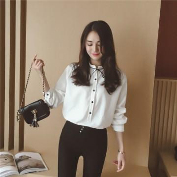 TE128XXYJ Korean fashion pure color lacing neck blouse