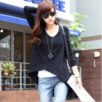 TE1631RHDM Simple v-neck slim forked tail t-shirt