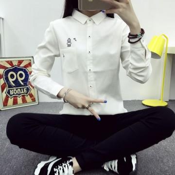 TE1652MLCS Cartoon robot print simple white shirt