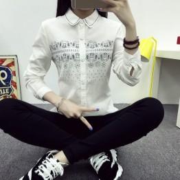 TE1654MLCS Embroidery fresh comfortable white shirt