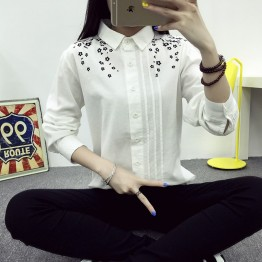 TE1655MLCS Korean fashion print lapel white shirt
