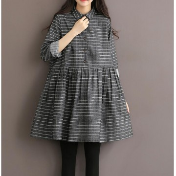 TE1663MLCS Vintage cotton stripes checks loose dress