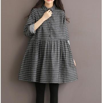 TE1663MLCS Vintage cotton stripes checks loose dress