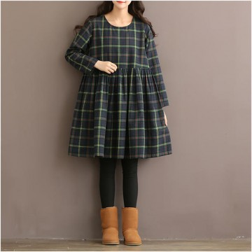 TE1666MLCS Vintage fresh girl stripes checks loose dress