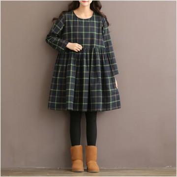 TE1666MLCS Vintage fresh girl stripes checks loose dress