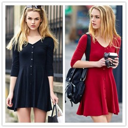 TE8684HSYZ Europe fashion sexy v-neck simple long sleeve dress