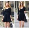 TE8684HSYZ Europe fashion sexy v-neck simple long sleeve dress