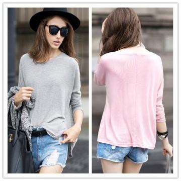 TE2150ALFS Fashion pure color long sleeve t-shirt